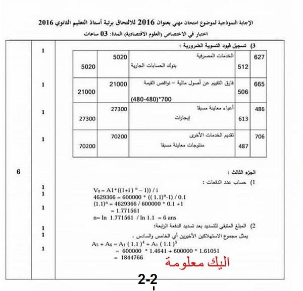 الإجابة النموذجية لموضوع امتحان مهني بعنوان 2016للالتحاق برتبة أستاذ التعليم الثانوي أختبار في اختصاص (العلوم الاقتصادية)