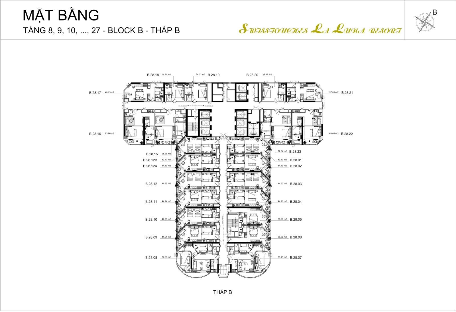 Mặt bằng điển hình tầng 8 - 27 dự án La Luna Resort