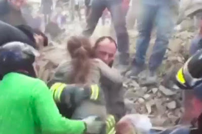 Touching moment 10-year-old girl is pulled from rubble alive after 17 hours of being buried in Italian Quake