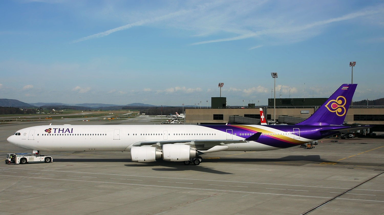 Jet Engine Hd Wallpaper Airbus A340 600 Of Thai Airways Aircraft Wallpaper 1788