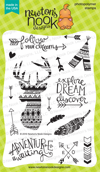 Adventure Awaits  4 x 6 Deer and Feather Stamp set | Newton's Nook Designs #newtonsnook