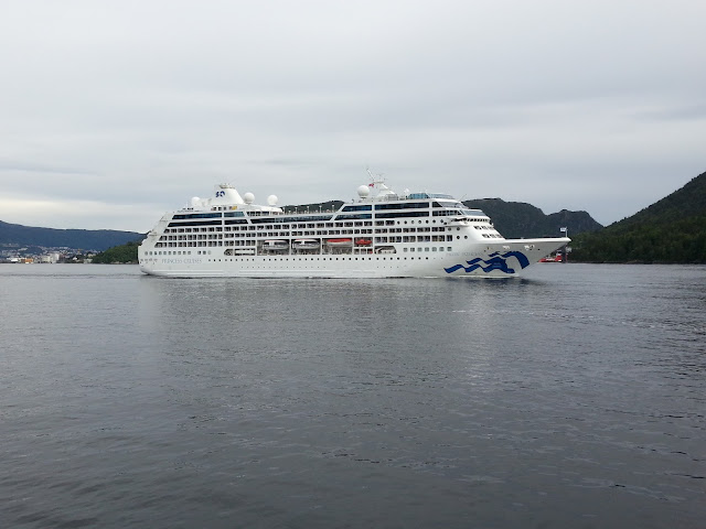 Cruise ship Pacific Princess in Bergen, Norway; Princess Cruises; Fjord cruise; R Three