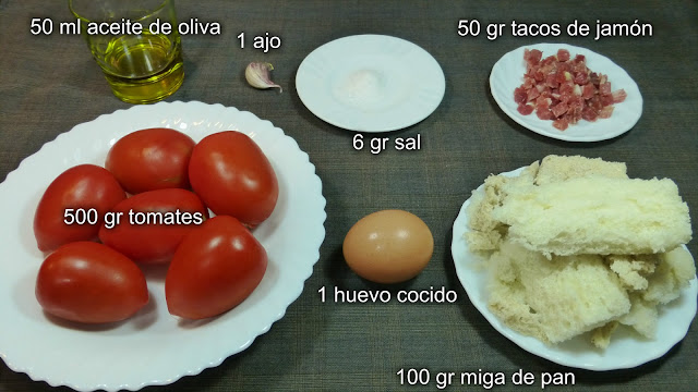 Salmorejo. Ingredientes