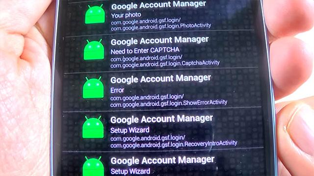 error en administrador de cuentas de google