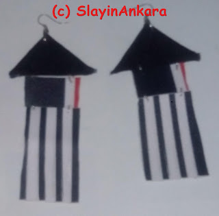 Earrings made from  a combination of leather and Jeans