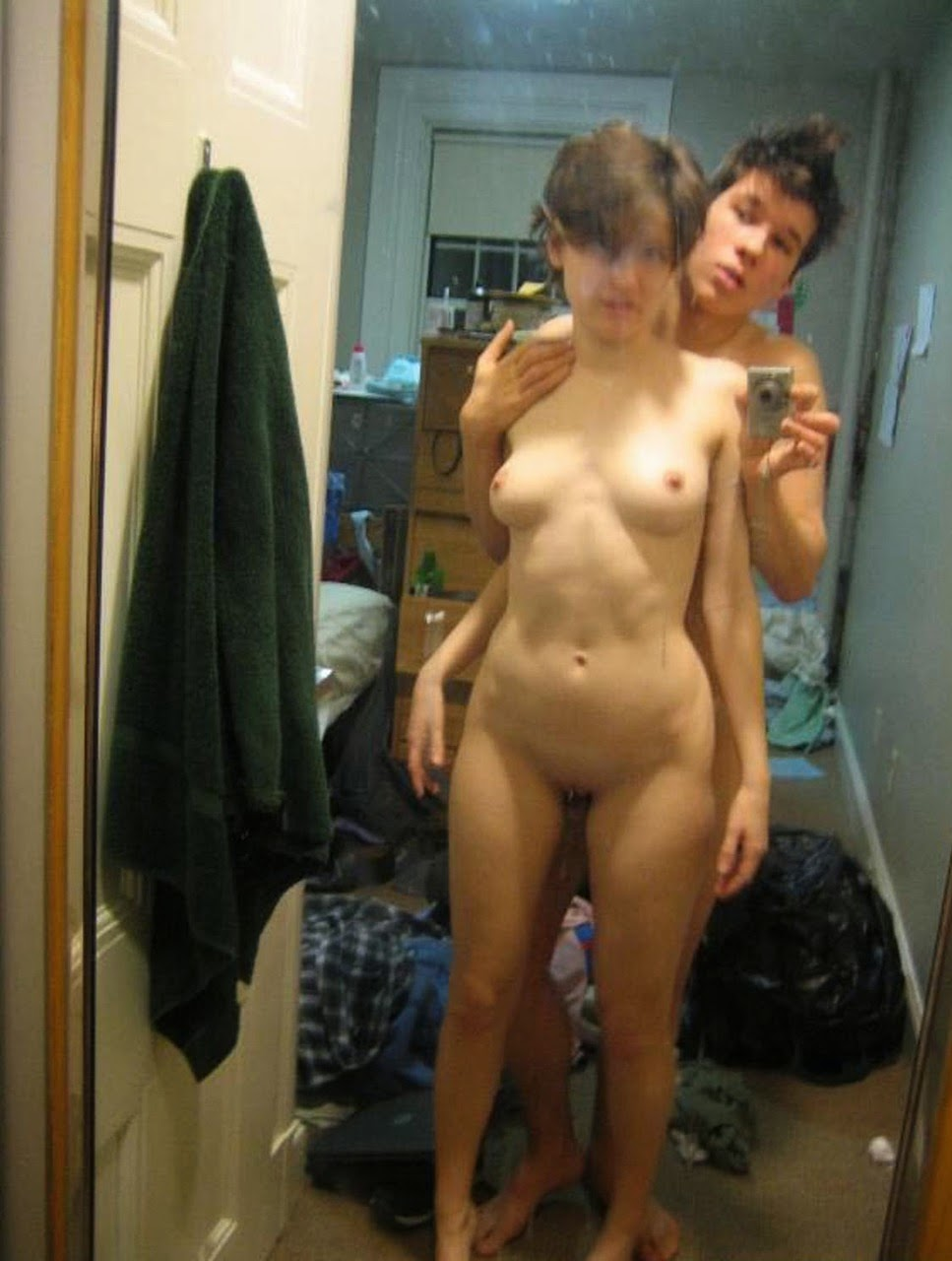 Tattoos fake tits selfie brunette
