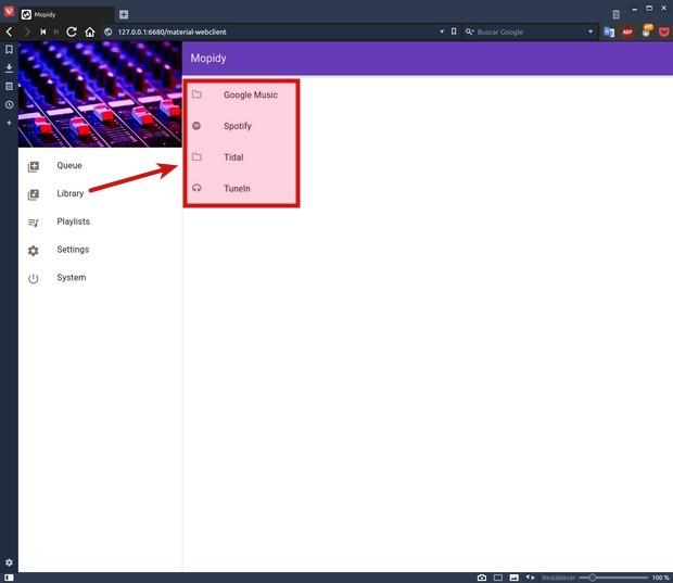 Spotify, Tidal, Google Music (y más) en bitperfect en Linux y OS X Mopidy_897