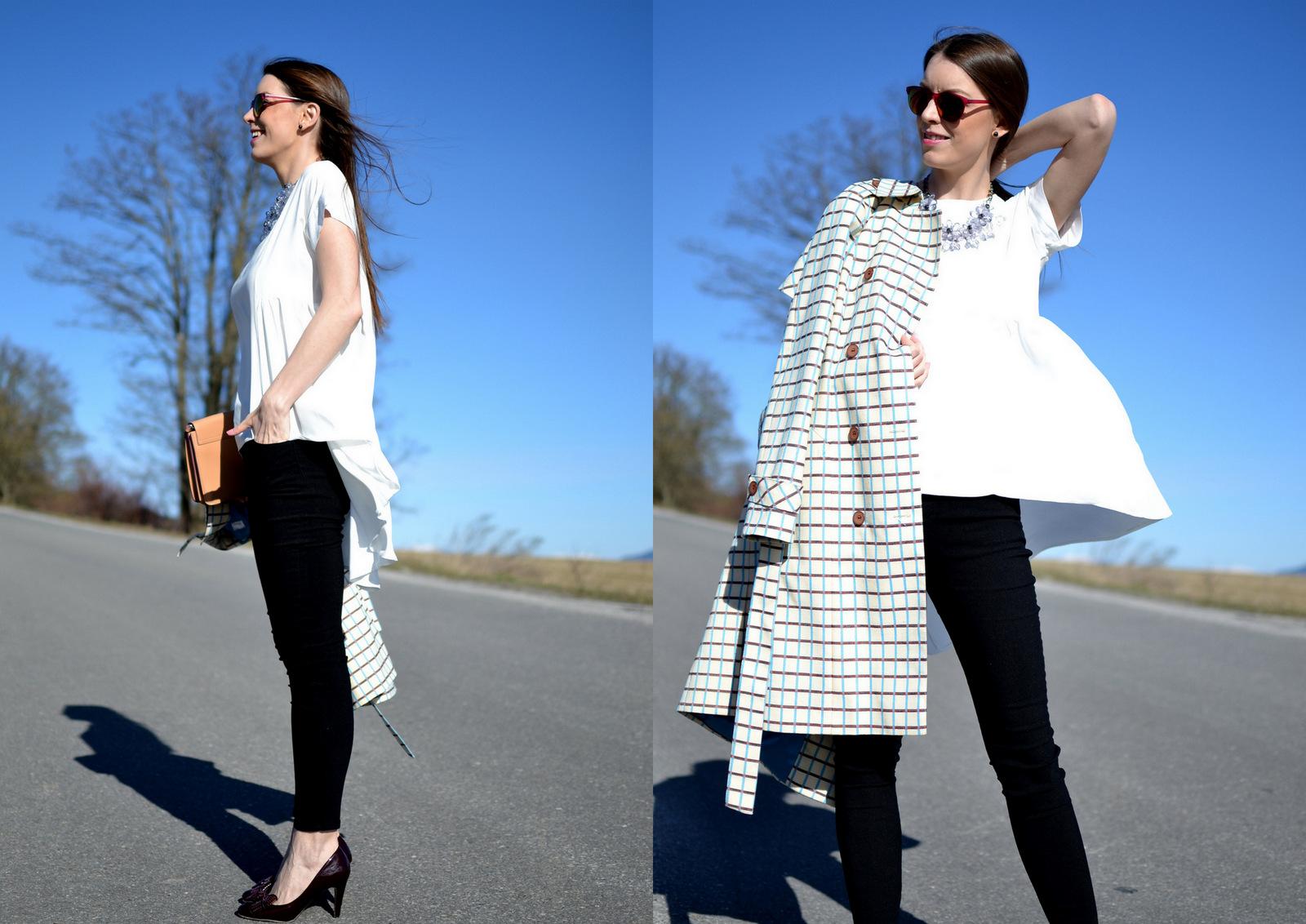 biely predĺžený top s čiernymi nohavicami // jarný handmade kabát opäť v outfite