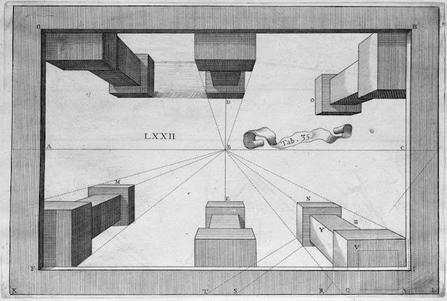 artist/gemetric schematic of aerial perspective view looking down over 6 architectural column-like figures