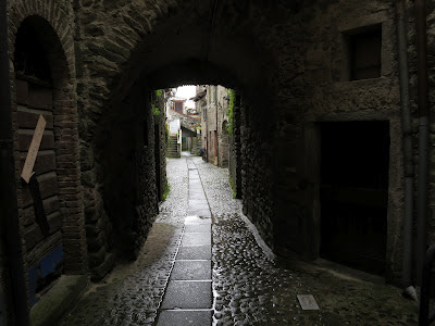 Narrow street in Filetto, Lunigiana Tuscany