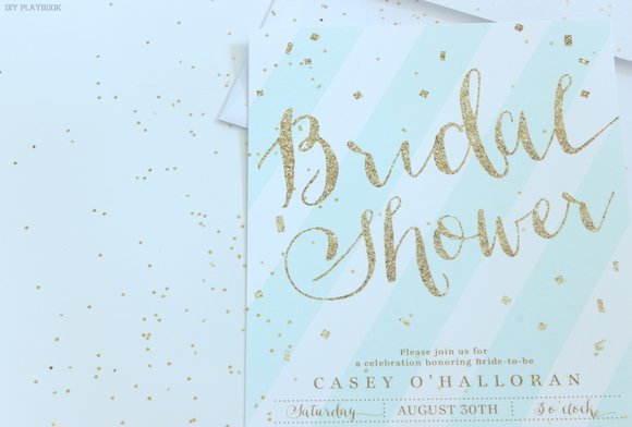 Glittery gold and mint bridal shower invitations