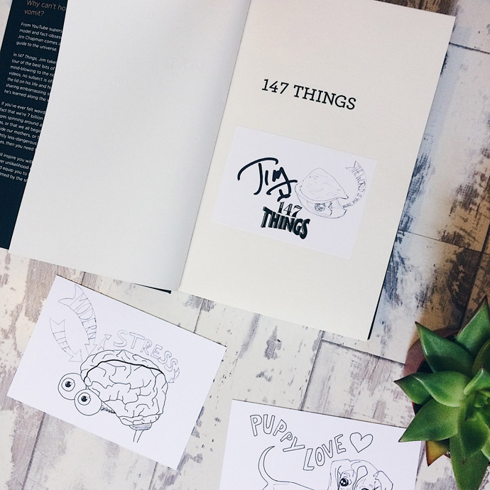 Inside cover of 147 Things, showing autograph of Jim Chapman (YouTuber)