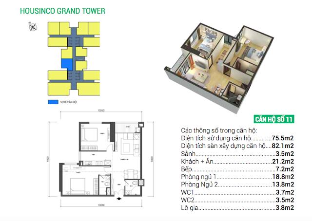 Thiết kế căn hộ 11 chung cư Housinco Grand Tower