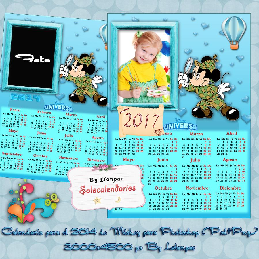 Calendarios para Photoshop: Calendario del 2017 de Mickey Mouse para ...