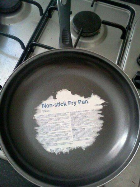 Funny Non-stick Frying Pan Label Picture