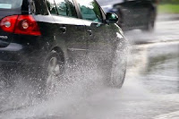 Carefully put brakes on car when passing through puddles