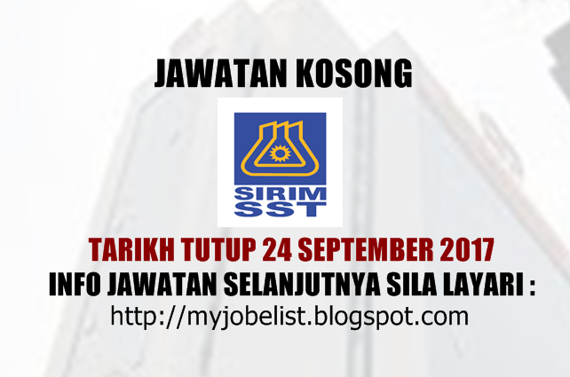 Jawatan Kosong SIRIM Standards Technology Sdn Bhd 2017