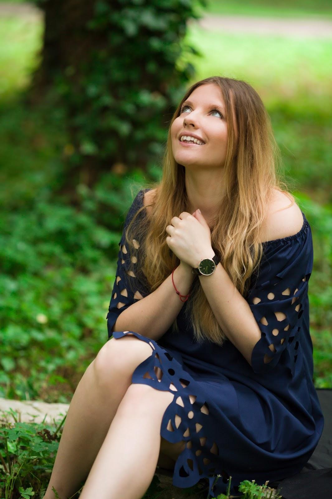 10 Off The Shoulder Flared Dress zaful paul rich watch hat sukienka zaful opinie recenzja buty łuków ażurowa hiszpanka granatowa baletki zegarek ootd lookbook fashionblogger blog modowy lifestyle