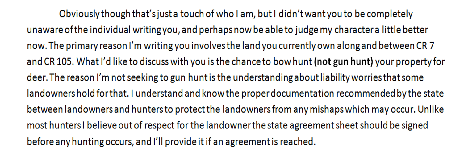 written hunting permission letter