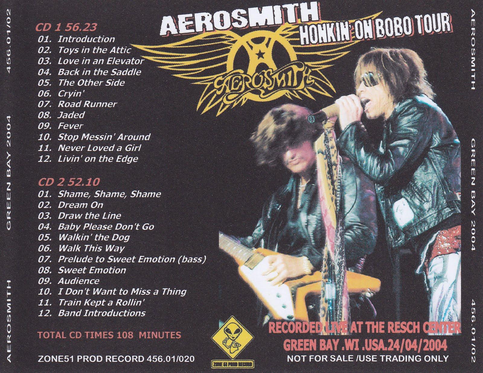 Aerosmith Bootlegs Cover Arts Green Bay 2004