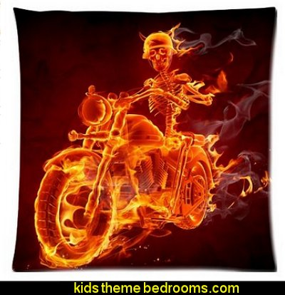burning fire skeleton scary skull head body motorbike motorcycle ghost flaming flames Zippered Pillow Cases