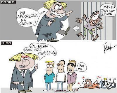 Resultado de imagem para rico e pobre na prisão charge