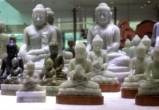 Buddha statues made from natural jadeite in specialty store