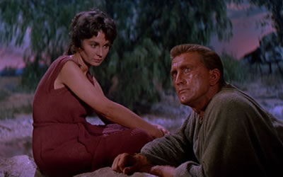 Kirk Douglas and Jean Simmons in Spartacus 1960 movieloverreviews.filminspector.com