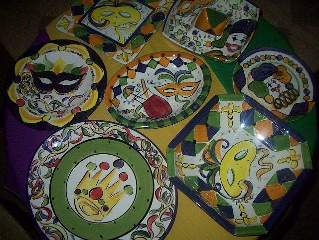 Vast collection of Vicki Carroll ceramic serveware & The Uptown Acorn: #tbt Mardi Gras Serveware