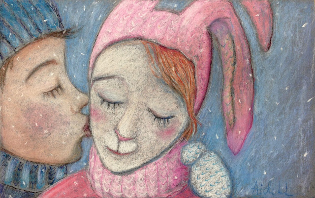 #AideLL #snow #pinkrabbit #pink #bunny #kiss #art  #illustration #pastel #painting