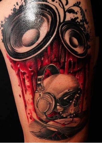 Skull Speaker Music Tattoos For Men