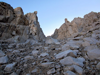 Entrance of chute on Williamson's West Face.