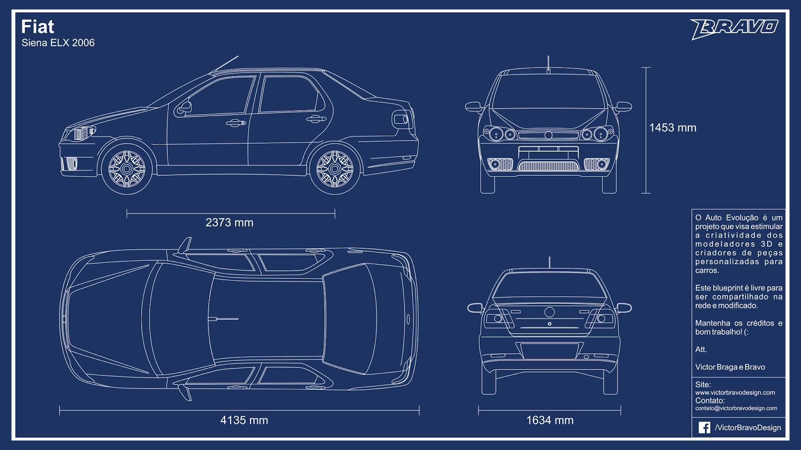 Imagem mostrando o desenho do Blueprint Fiat Siena ELX 2006