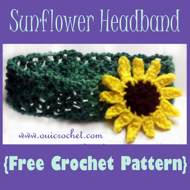 Crochet, Crochet Sunflower Applique Pattern, Free Crochet Pattern, Sunflower Applique, Crochet Headband, Sunflower Headband,
