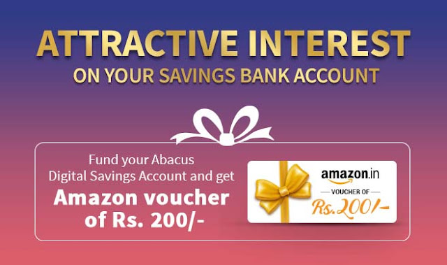 Get Rs.200/- Amazon Gift Card by just funding your RBL Abacus Digital Savings Account