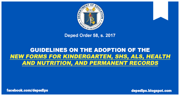 Guidelines on the adoption of the new forms for kindergarten shs guidelines on the adoption of the new forms for kindergarten shs als health and nutrition and permanent records fandeluxe Image collections