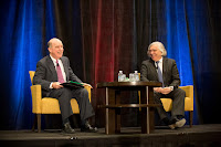 """Innovation, Ernest Moniz said, is """"the essence of America's strength."""" Shown here is Moniz (right) with Robert Armstrong, director of the MIT Energy Initiative. (Photo Credit: Bryce Vickmar) Click to Enlarge."""