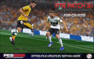 PES 2019 PTE Patch 2019 3.1 DLC 4.02 Option File 28-03-2019 by Sofyan Andri