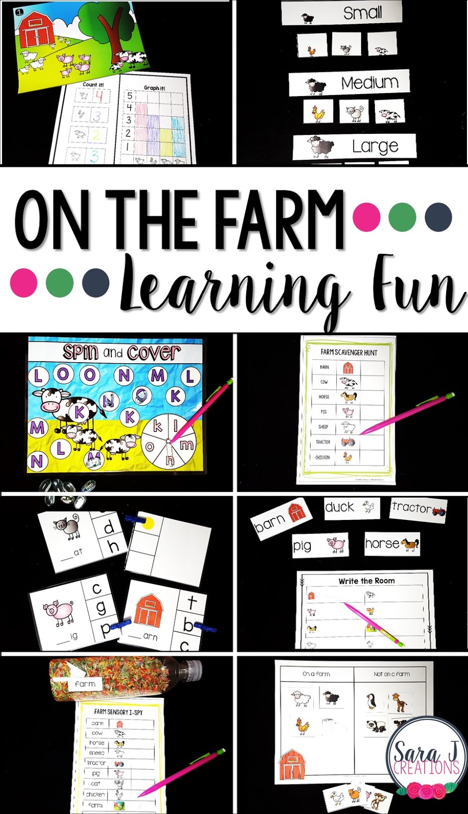 Farm preschool unit with hands on math, literacy and sensory learning fun!