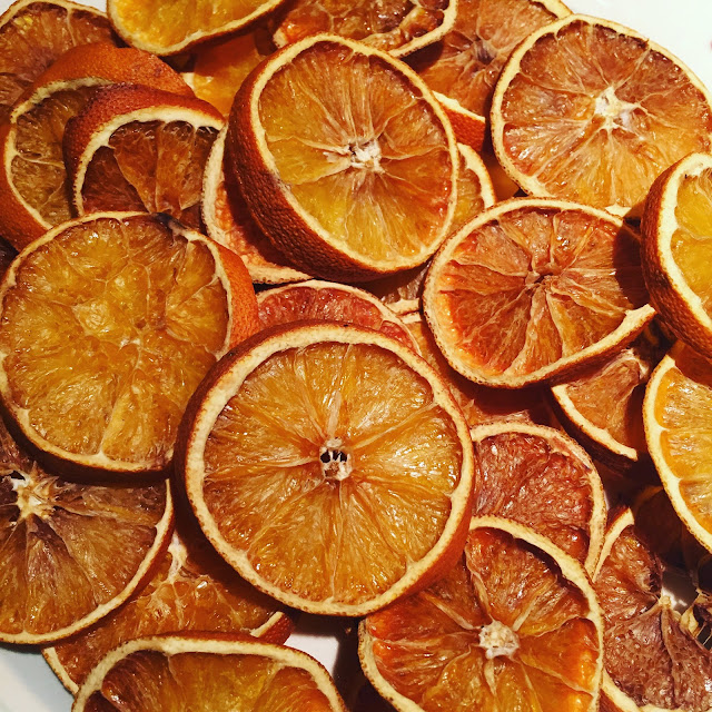 Homemade dried orange slices