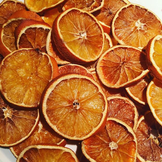 Homemade dried orange slices