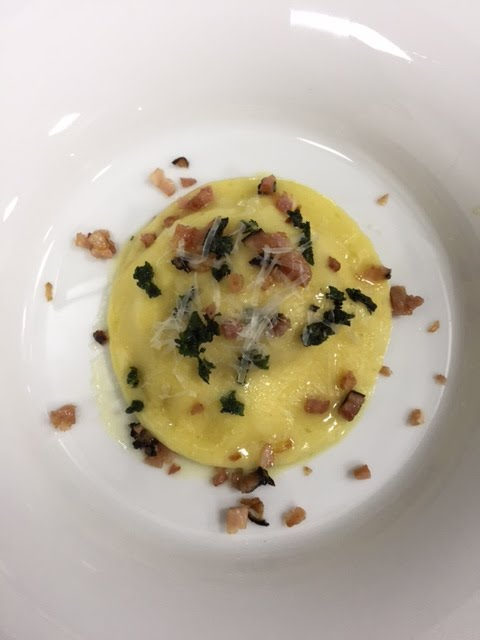 egg yolk ravioli, panchetta, sage, food, homemade, pasta