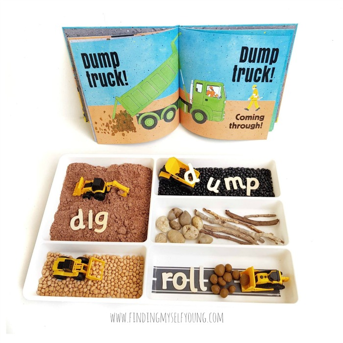 Dig Dump Roll book and bookish play tray activity