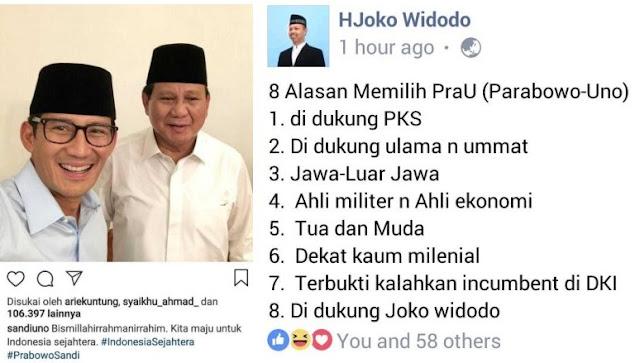8 Alasan Memilih Prabowo-Uno, No.8 Asli Kocak