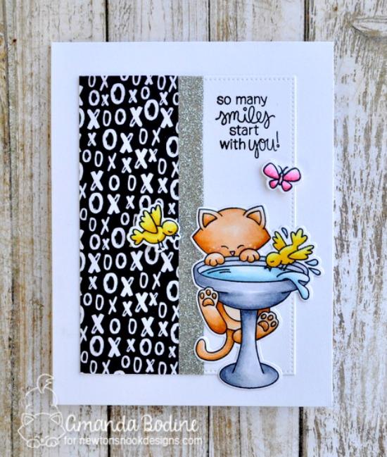 Cat on Birdbath Card by Amanda Bodine | Newton's Birdbath Stamp set by Newton's Nook Designs #newtonsnook