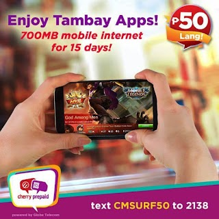 Cherry Prepaid CMSURF50 – 15 Days Mobile Internet for 50 Pesos