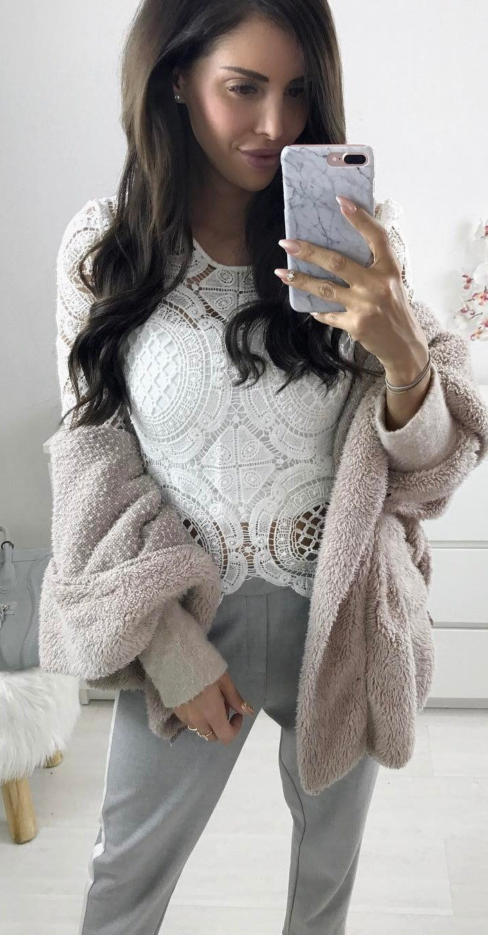 trendy outfit : lace top + cardigan + pants