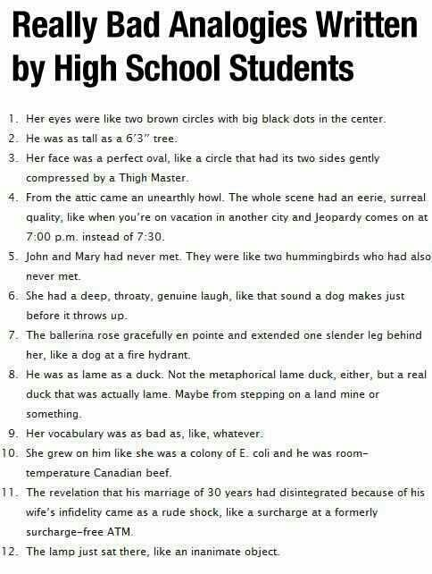High School Student Analogies ~ Funny Joke Pictures