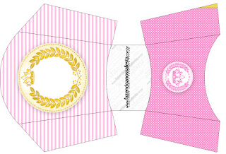Golden Crown in Pink Free Printable Quinceanera PartyBoxes.