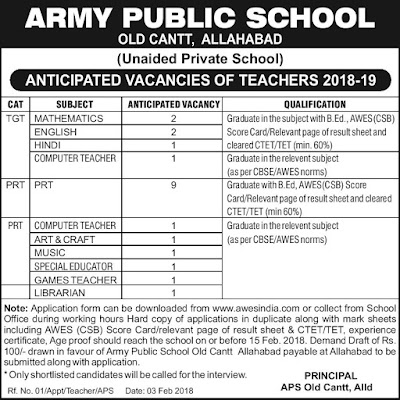 Army Public School Allahabad Recruitment 2018 TGT PGT Jobs